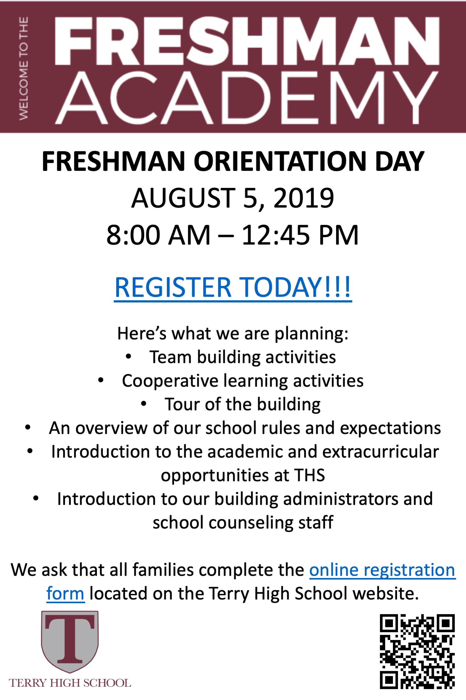 Freshman Orientation Day Flyer